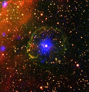 Pulsar has atmosphere of matter and anti matter.